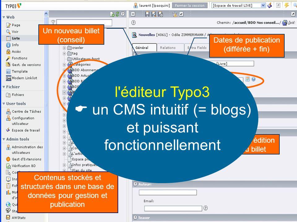  un CMS intuitif (= blogs) et puissant fonctionnellement