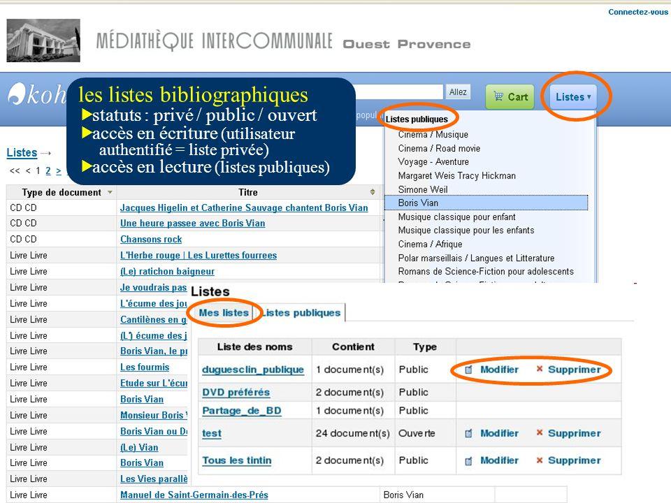 les listes bibliographiques