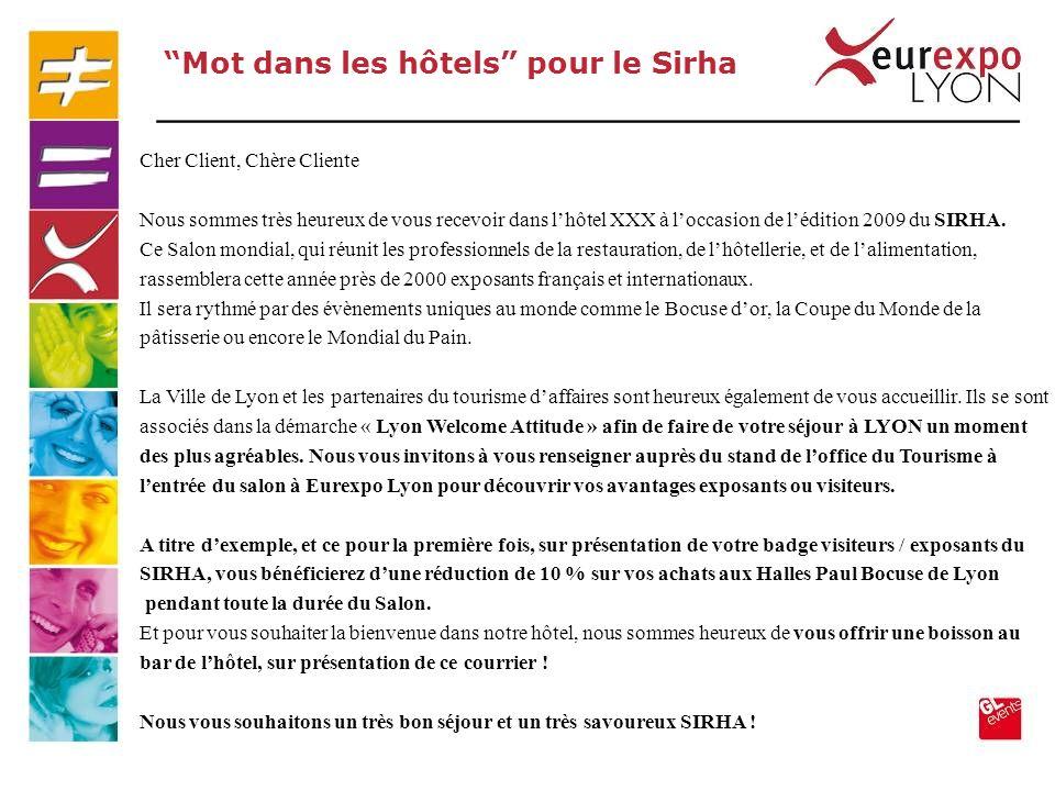 Mot dans les hôtels pour le Sirha