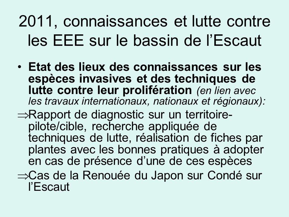 2011, connaissances et lutte contre les EEE sur le bassin de l'Escaut