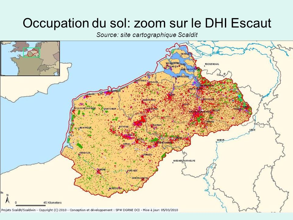 Occupation du sol: zoom sur le DHI Escaut Source: site cartographique Scaldit