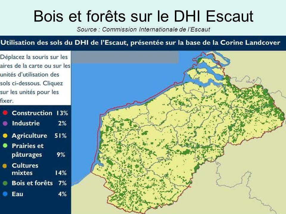 Bois et forêts sur le DHI Escaut Source : Commission Internationale de l'Escaut