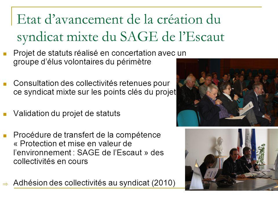 Etat d'avancement de la création du syndicat mixte du SAGE de l'Escaut
