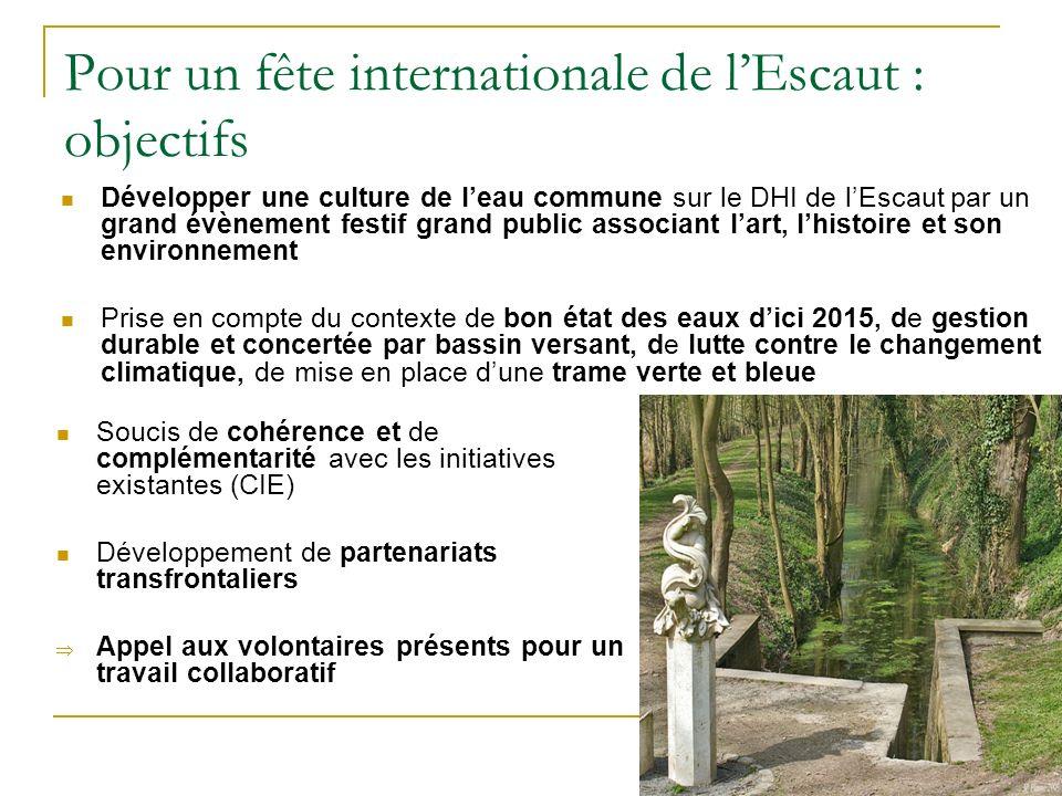 Pour un fête internationale de l'Escaut : objectifs