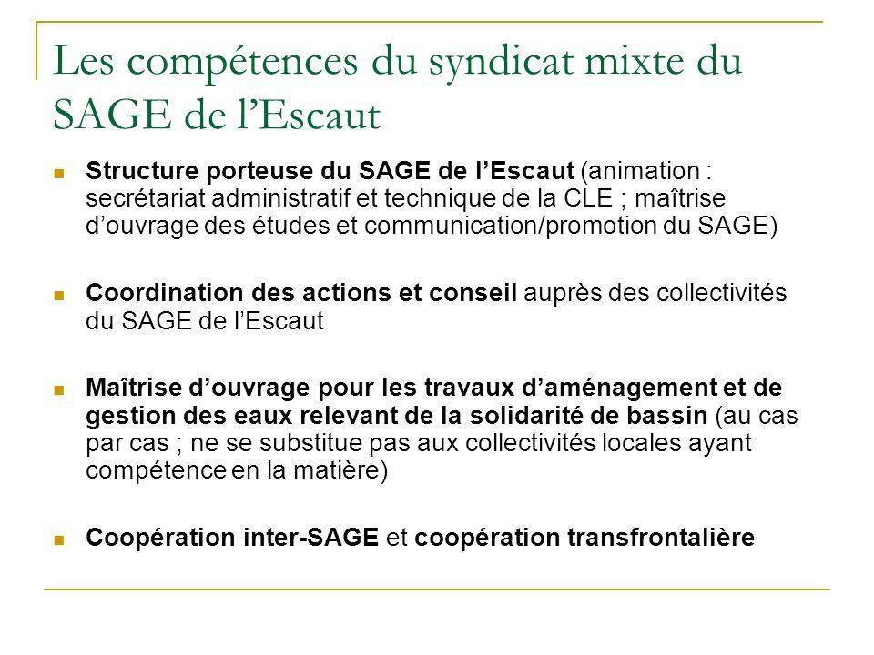 Les compétences du syndicat mixte du SAGE de l'Escaut