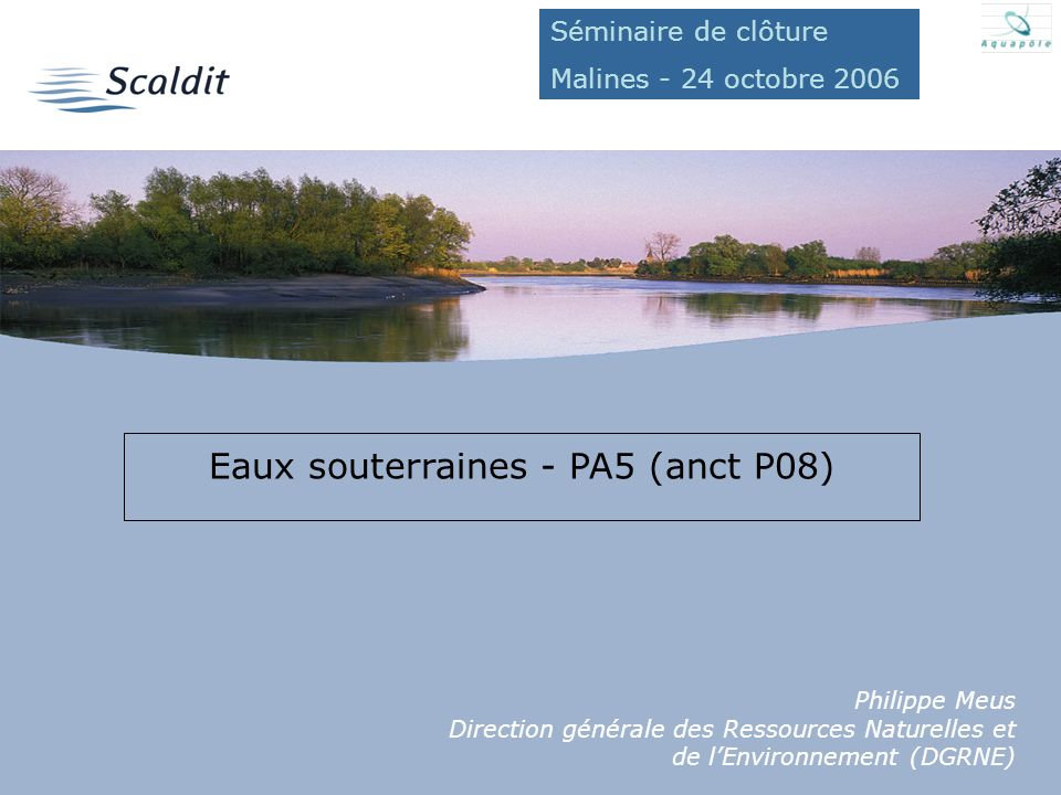 Eaux souterraines - PA5 (anct P08)