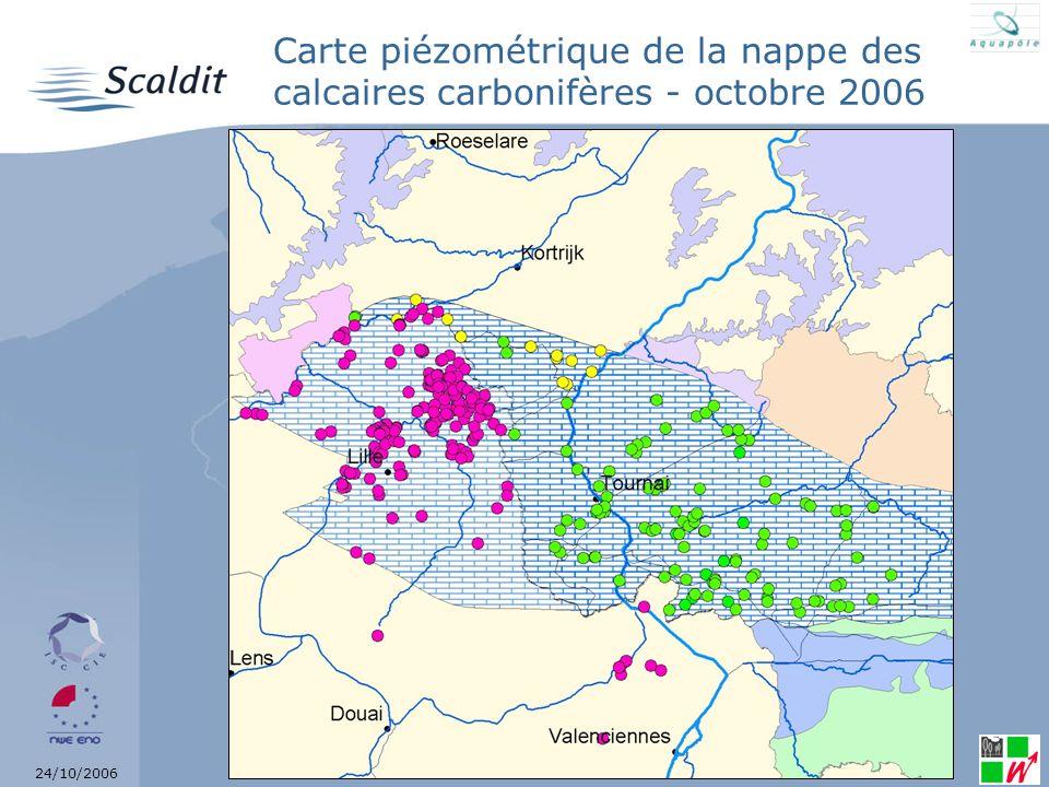 Carte piézométrique de la nappe des calcaires carbonifères - octobre 2006