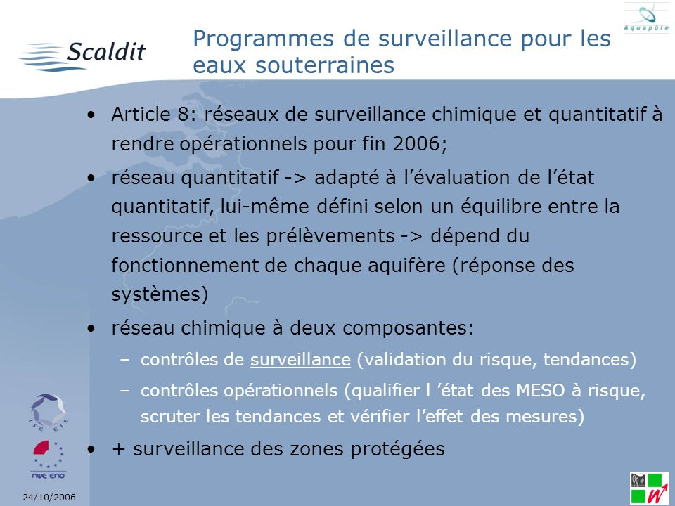 Programmes de surveillance pour les eaux souterraines