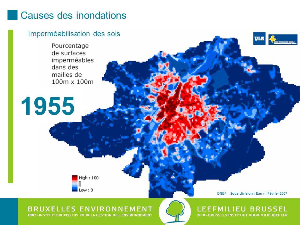 1955 Causes des inondations Imperméabilisation des sols
