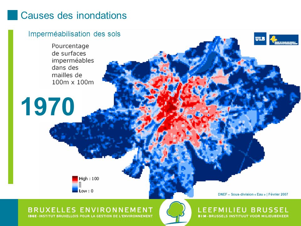 1970 Causes des inondations Imperméabilisation des sols