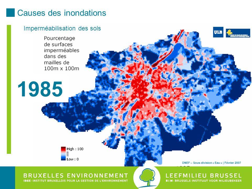 1985 Causes des inondations Imperméabilisation des sols