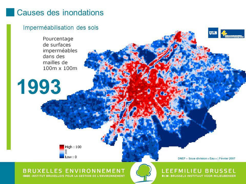 1993 Causes des inondations Imperméabilisation des sols