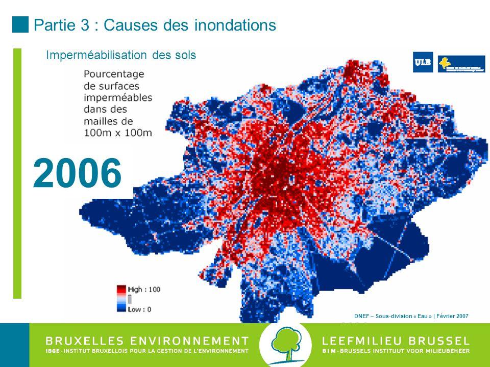 2006 Partie 3 : Causes des inondations Imperméabilisation des sols