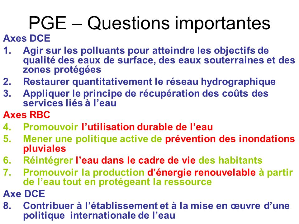 PGE – Questions importantes