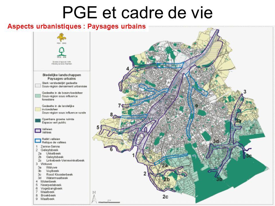 PGE et cadre de vie Aspects urbanistiques : Paysages urbains