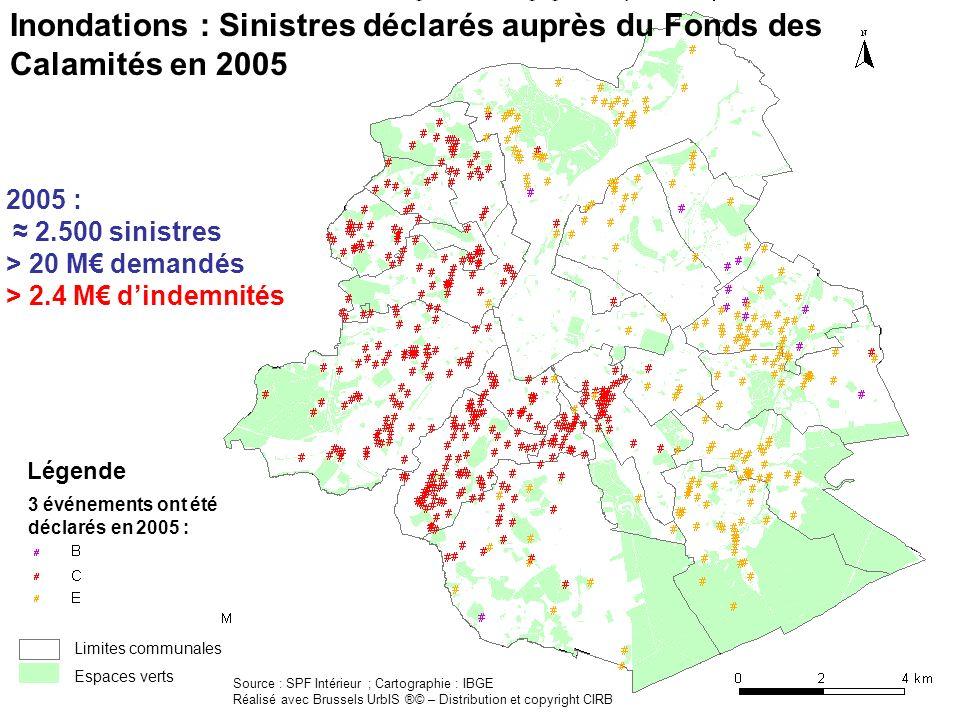 Inondations : Sinistres déclarés auprès du Fonds des Calamités en 2005