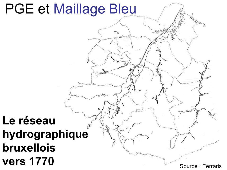 PGE et Maillage Bleu Le réseau hydrographique bruxellois vers 1770