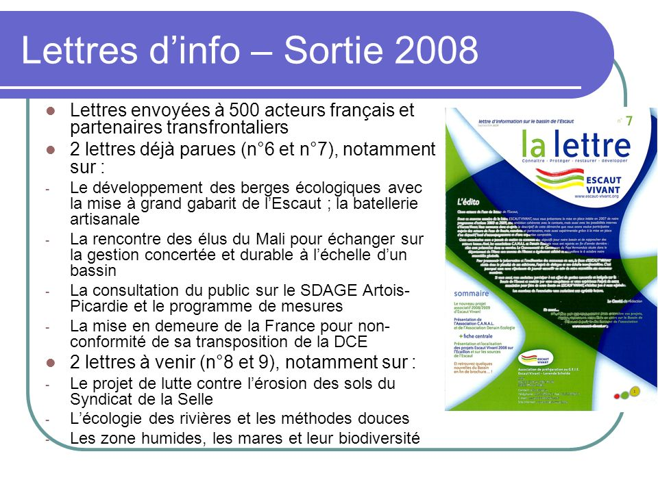 Lettres d'info – Sortie 2008