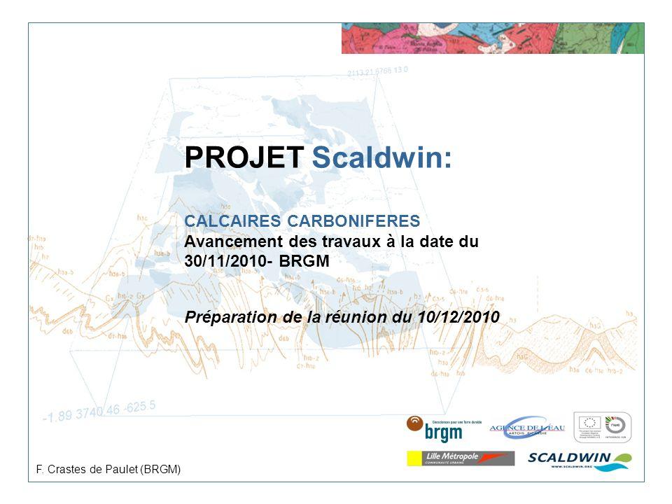 PROJET Scaldwin: CALCAIRES CARBONIFERES Avancement des travaux à la date du 30/11/2010- BRGM Préparation de la réunion du 10/12/2010