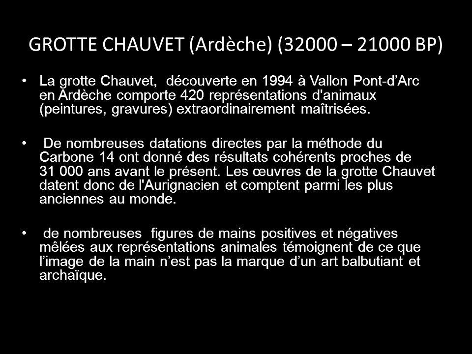 GROTTE CHAUVET (Ardèche) (32000 – 21000 BP)