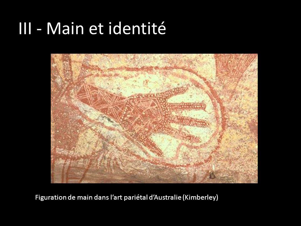 III - Main et identité Figuration de main dans l'art pariétal d'Australie (Kimberley)