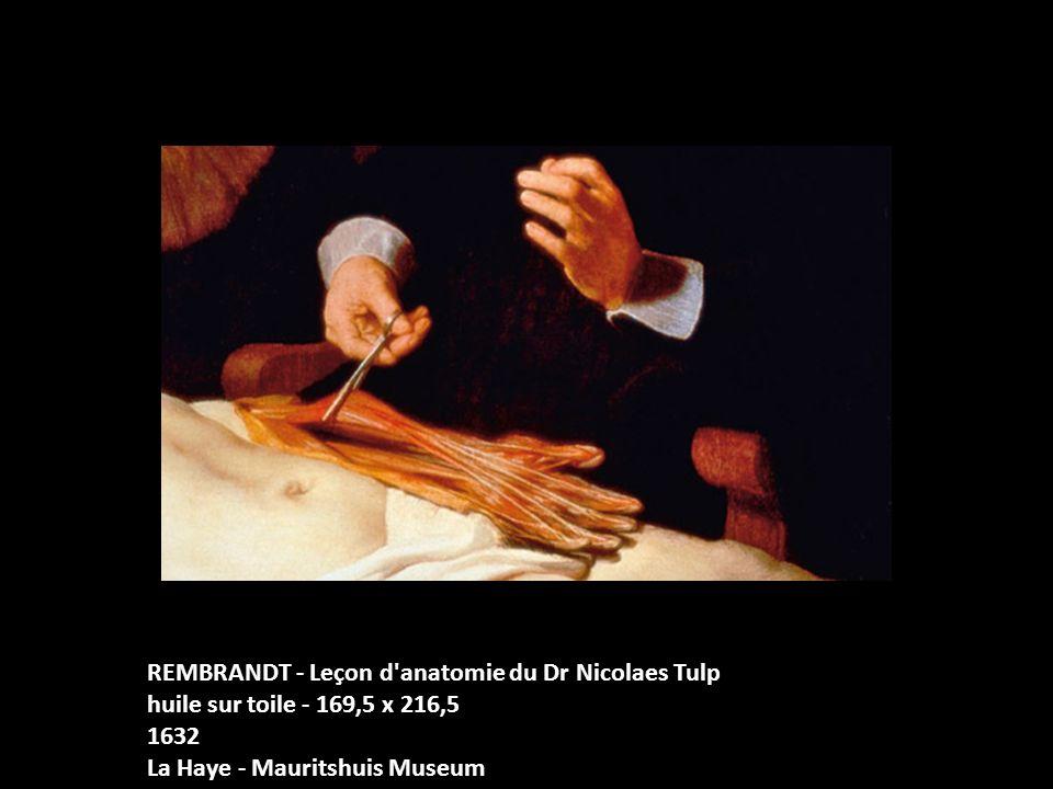 REMBRANDT - Leçon d anatomie du Dr Nicolaes Tulp huile sur toile - 169,5 x 216,5 1632 La Haye - Mauritshuis Museum