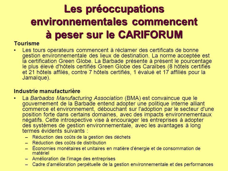 Les préoccupations environnementales commencent à peser sur le CARIFORUM