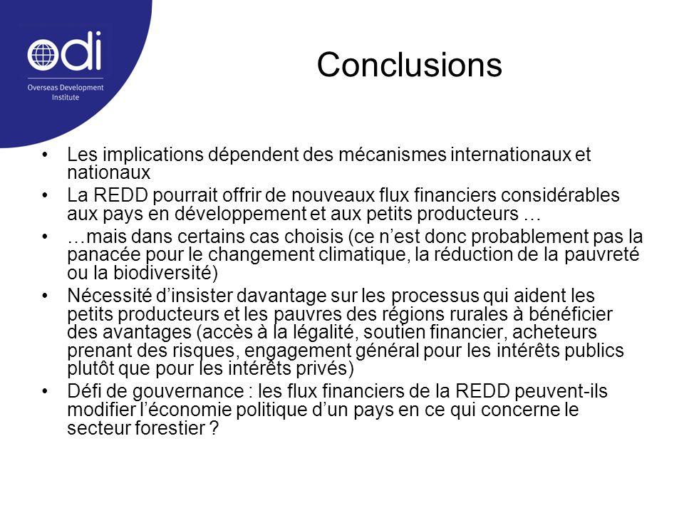Conclusions Les implications dépendent des mécanismes internationaux et nationaux.