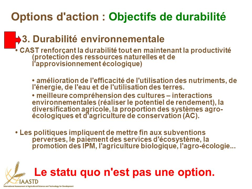 Options d action : Objectifs de durabilité