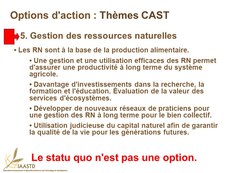 Options d action : Thèmes CAST