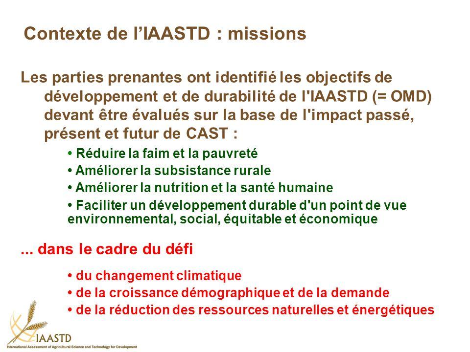 Contexte de l'IAASTD : missions