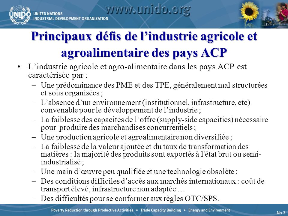 Principaux défis de l'industrie agricole et agroalimentaire des pays ACP