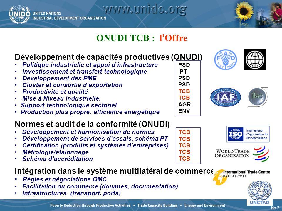 ONUDI TCB : l'Offre Développement de capacités productives (ONUDI)