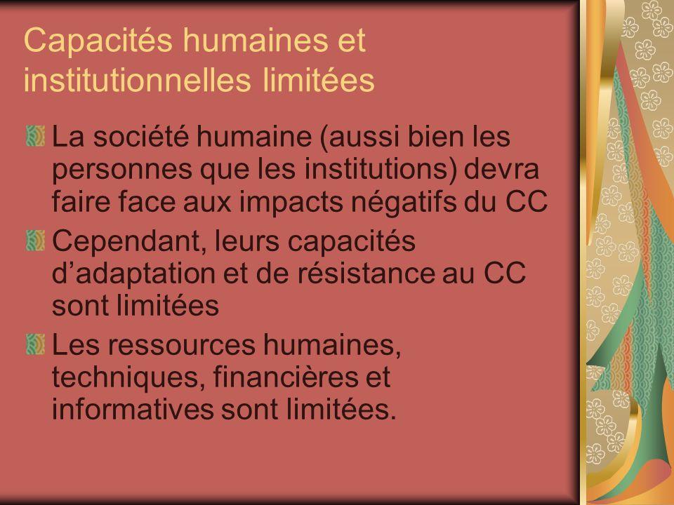 Capacités humaines et institutionnelles limitées