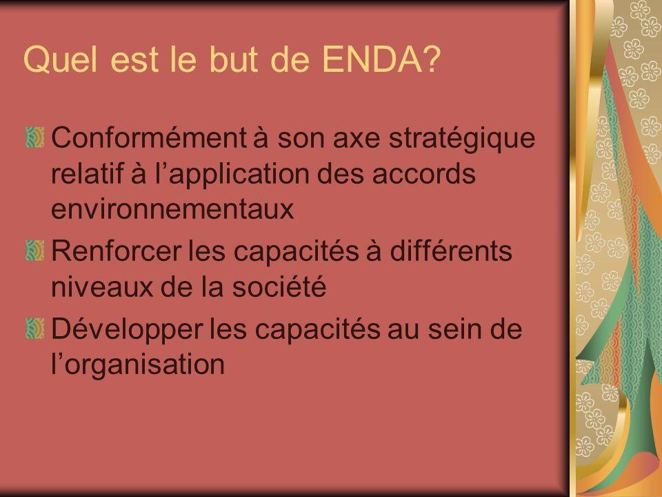 Quel est le but de ENDA Conformément à son axe stratégique relatif à l'application des accords environnementaux.