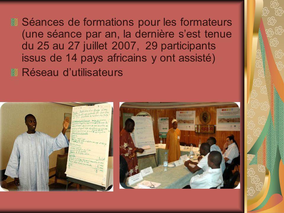 Séances de formations pour les formateurs (une séance par an, la dernière s'est tenue du 25 au 27 juillet 2007, 29 participants issus de 14 pays africains y ont assisté)
