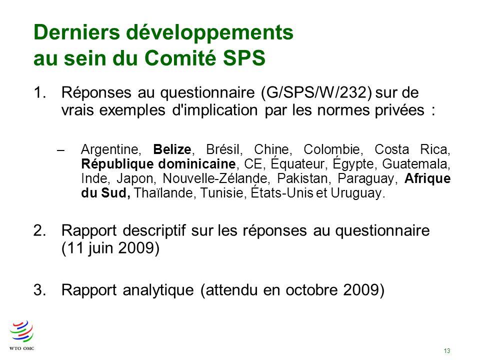 Derniers développements au sein du Comité SPS