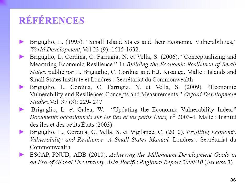 RÉFÉRENCESBriguglio, L. (1995). Small Island States and their Economic Vulnerabilities, World Development, Vol.23 (9): 1615-1632.