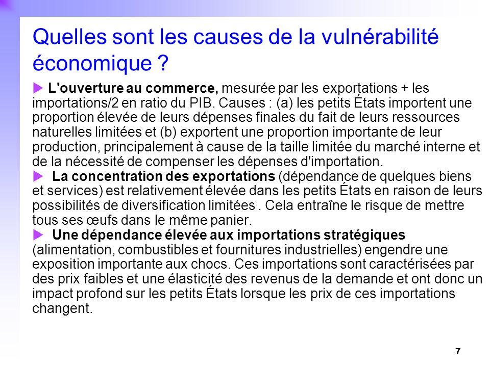 Quelles sont les causes de la vulnérabilité économique