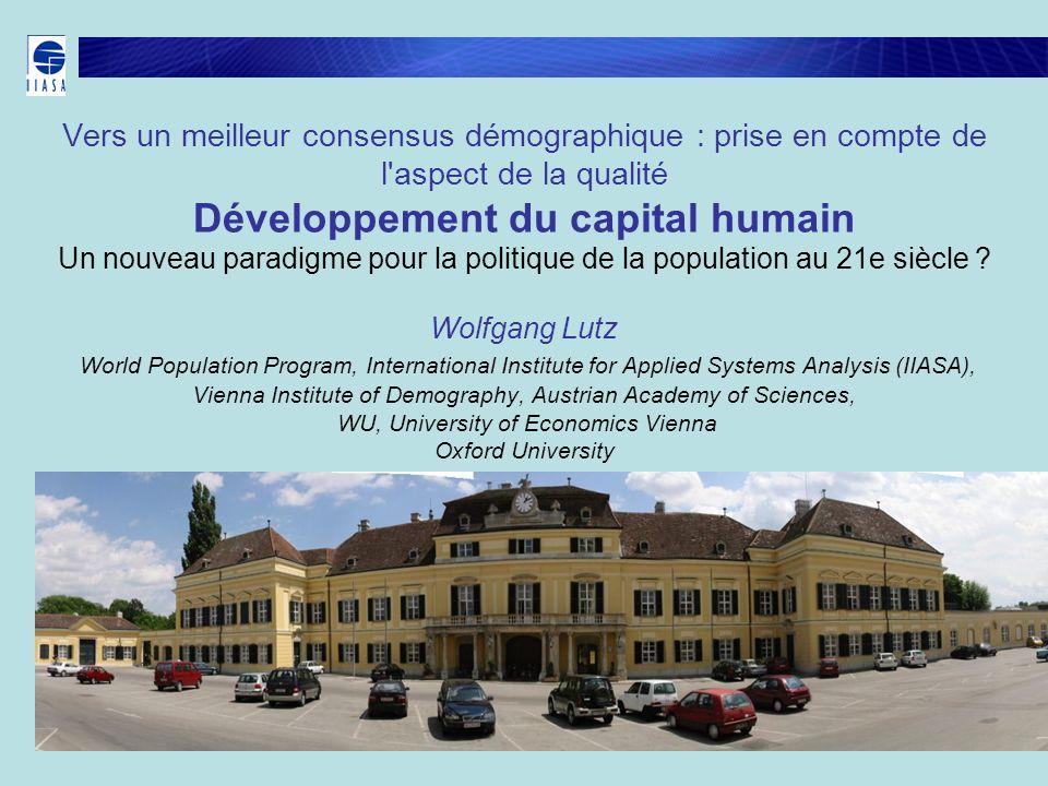 Vers un meilleur consensus démographique : prise en compte de l aspect de la qualité Développement du capital humain Un nouveau paradigme pour la politique de la population au 21e siècle .