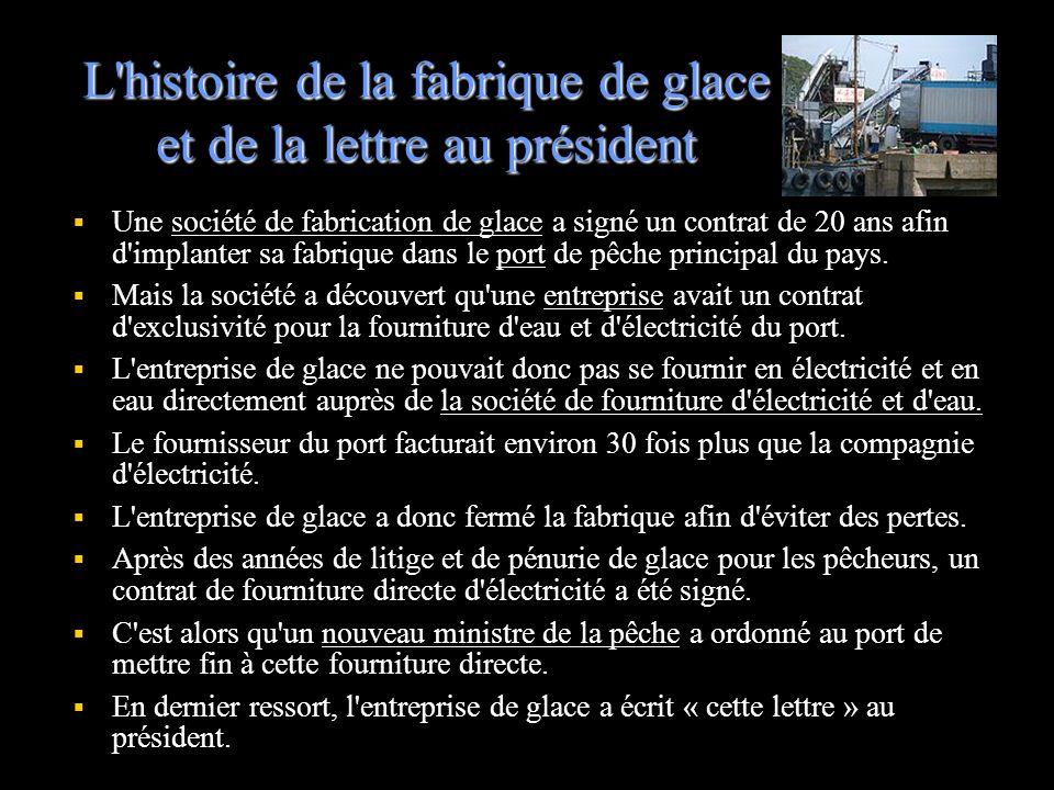 L histoire de la fabrique de glace et de la lettre au président