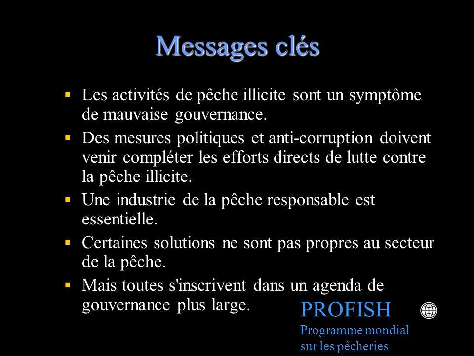 Messages clés Les activités de pêche illicite sont un symptôme de mauvaise gouvernance.