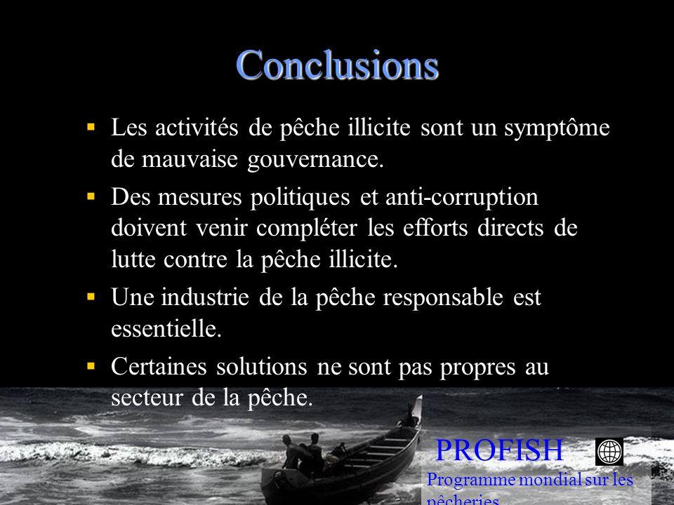 Conclusions Les activités de pêche illicite sont un symptôme de mauvaise gouvernance.