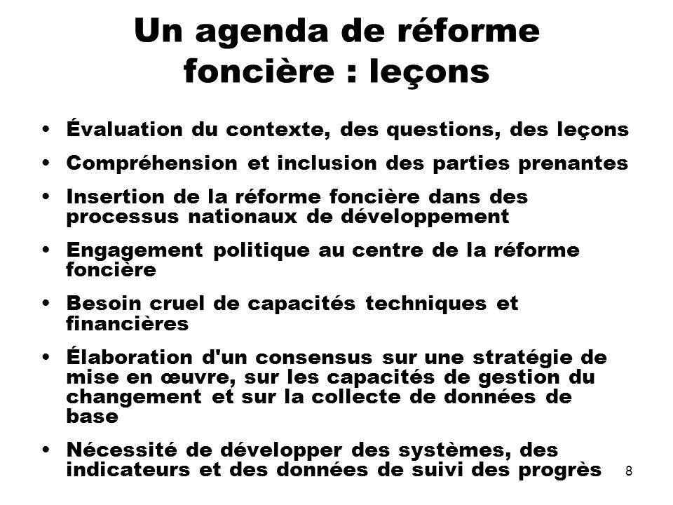 Un agenda de réforme foncière : leçons