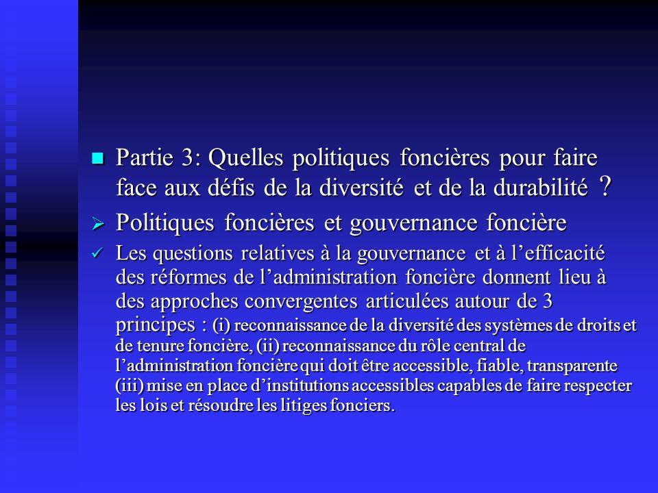 Politiques foncières et gouvernance foncière