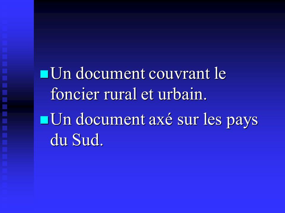 Un document couvrant le foncier rural et urbain.