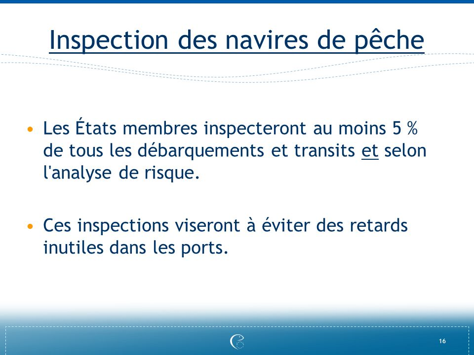 Inspection des navires de pêche