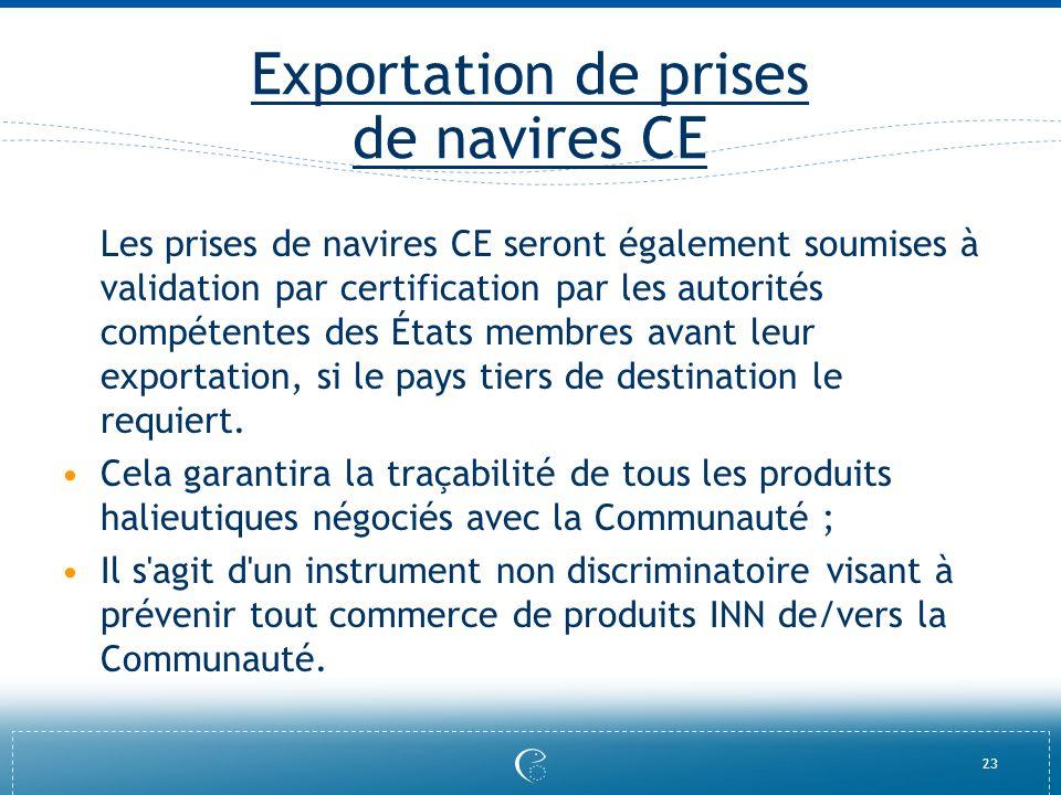 Exportation de prises de navires CE