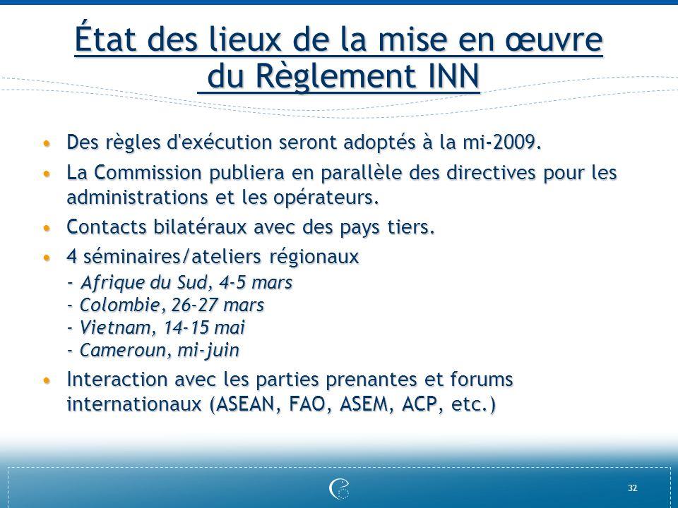 État des lieux de la mise en œuvre du Règlement INN