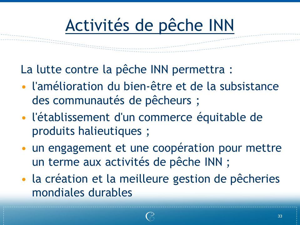 Activités de pêche INN La lutte contre la pêche INN permettra :